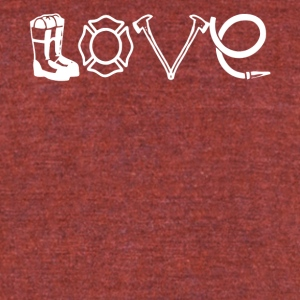 Firefighter Love T Shirt - Unisex Tri-Blend T-Shirt by American Apparel
