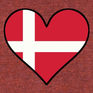 Danish Flag Heart - Unisex Tri-Blend T-Shirt by American Apparel