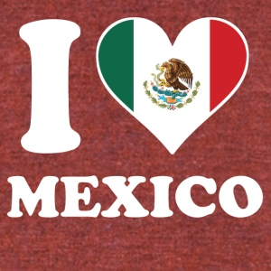 I Love Mexico Mexican Flag Heart - Unisex Tri-Blend T-Shirt by American Apparel