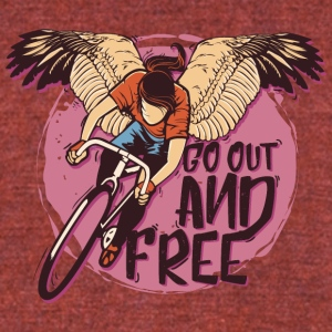Wings bicycle cyclist go out and free - Unisex Tri-Blend T-Shirt by American Apparel