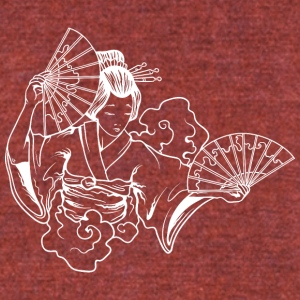 japanese_geisha_with_fans_white - Unisex Tri-Blend T-Shirt by American Apparel
