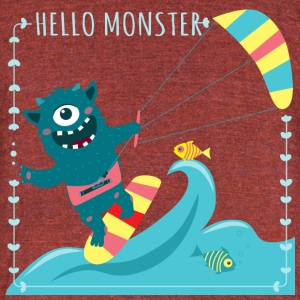 Monster with kite - Unisex Tri-Blend T-Shirt by American Apparel