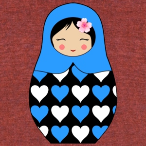 Blue Matryoshka doll with hearts - Unisex Tri-Blend T-Shirt by American Apparel