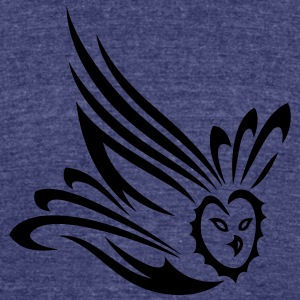 Small flying owl. Tribal and Tattoo Art. - Unisex Tri-Blend T-Shirt by American Apparel