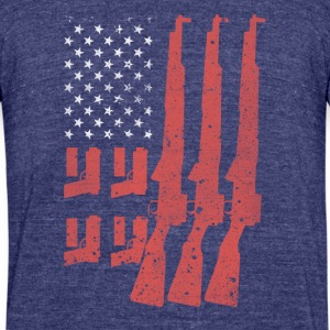 Never Disarm America Flag Shotgun Tshirt - Unisex Tri-Blend T-Shirt by American Apparel