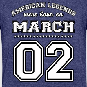 March 2 Birthday Date American Football Style - Unisex Tri-Blend T-Shirt by American Apparel