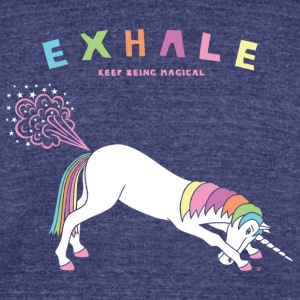 Down Dog Unicorn Exhale - Unisex Tri-Blend T-Shirt by American Apparel