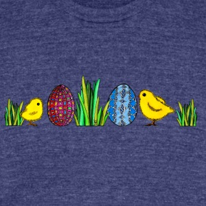 Easter Egg Easteregg chicks Happy Easter Grass - Unisex Tri-Blend T-Shirt by American Apparel