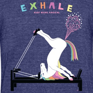 Pilates Unicorn Exhale - Unisex Tri-Blend T-Shirt by American Apparel