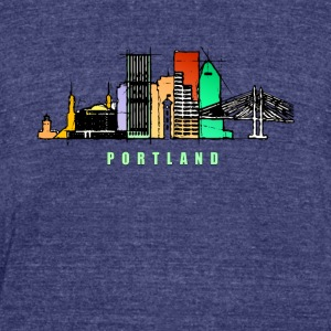 Portland city skyline - Unisex Tri-Blend T-Shirt by American Apparel
