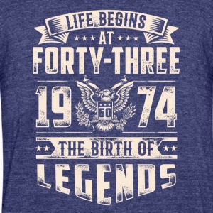 Life Begins At Forty Three Tshirt - Unisex Tri-Blend T-Shirt by American Apparel