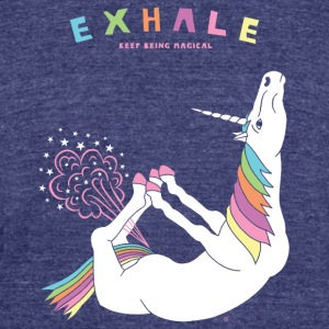 Bow Pose Unicorn Exhale - Unisex Tri-Blend T-Shirt by American Apparel