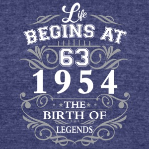 Life begins 63 1954 The birth of legends - Unisex Tri-Blend T-Shirt by American Apparel
