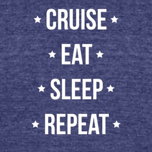 Cruise Eat Sleep Repeat Vacation Traveling - Unisex Tri-Blend T-Shirt by American Apparel