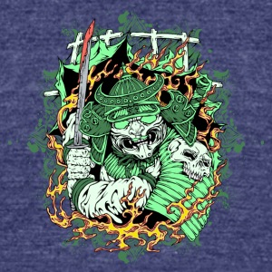 scary samurai with sword and skull - Unisex Tri-Blend T-Shirt by American Apparel
