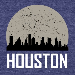 Houston Full Moon Skyline - Unisex Tri-Blend T-Shirt by American Apparel