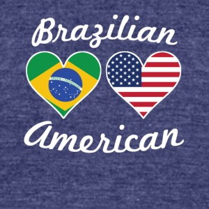 Brazilian American Flag Hearts - Unisex Tri-Blend T-Shirt by American Apparel