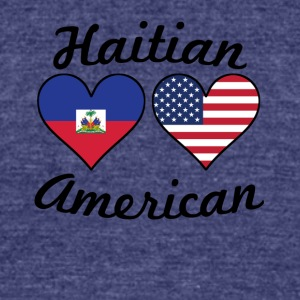 Haitian American Flag Hearts - Unisex Tri-Blend T-Shirt by American Apparel