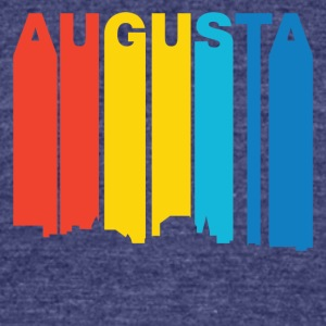 Retro 1970's Style Augusta Maine Skyline - Unisex Tri-Blend T-Shirt by American Apparel