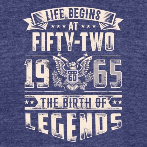 Life Begins At Fifty Two Tshirt - Unisex Tri-Blend T-Shirt by American Apparel