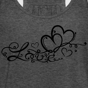 Two hearts in love with lettering - Women's Flowy Tank Top by Bella