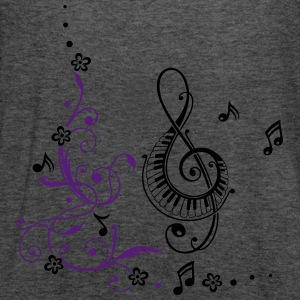 Clef with music notes and flowers - Women's Flowy Tank Top by Bella