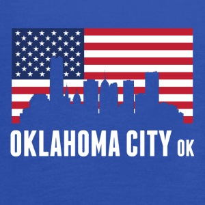 American Flag Oklahoma City Skyline - Women's Flowy Tank Top by Bella