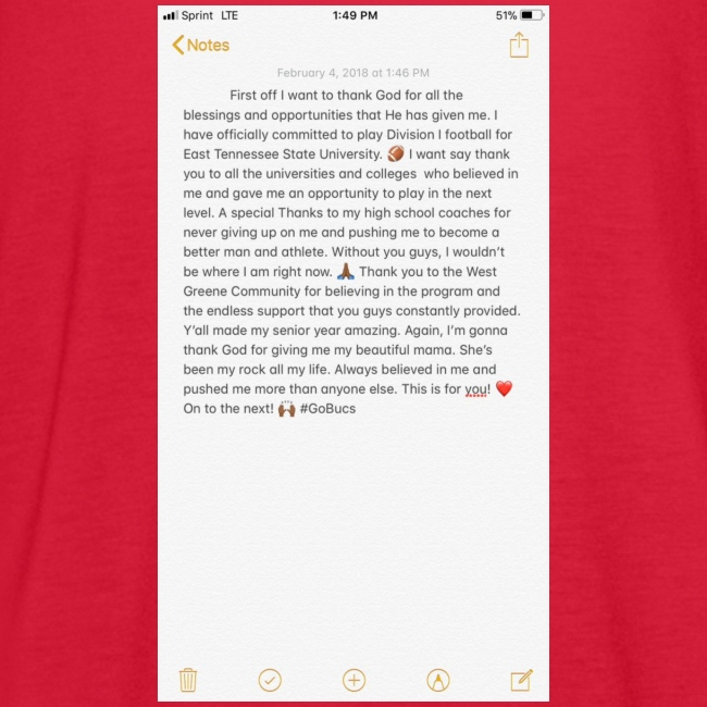 Text from a Football Commit