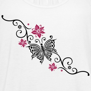 Butterfly with Tribal ornament and flowers - Women's Flowy Tank Top by Bella