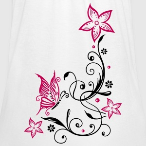 Flowers with filigree floral ornament, butterfly - Women's Flowy Tank Top by Bella