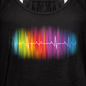Gay Pride Heartbeat - Women's Flowy Tank Top by Bella