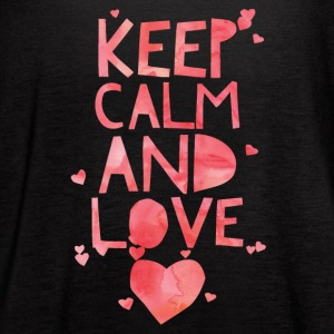 Cute and Cool Love Apparel - Keep Calm and Love - Women's Flowy Tank Top by Bella