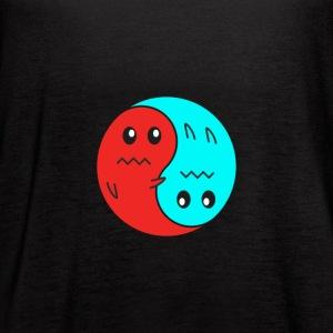 Yin And Yang Ghosts RED/BLUE - Women's Flowy Tank Top by Bella