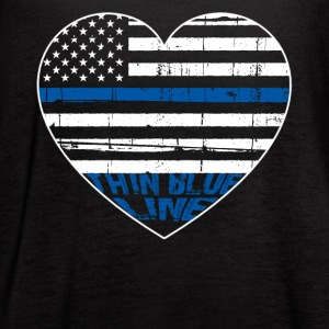 POLICE THIN BLUE LINE HEARTBEAT - Women's Flowy Tank Top by Bella