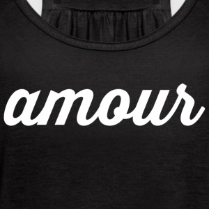 Amour - Cursive Design (White Letters)) - Women's Flowy Tank Top by Bella
