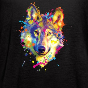 Wolf Neon Bright Colors Animal Lovers - Women's Flowy Tank Top by Bella