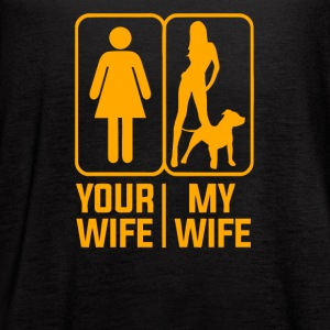 YOUR WIFE MY WIFE LOVE DOGS - Women's Flowy Tank Top by Bella