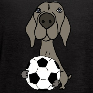 Cool Funky Weimaraner Dog Playing Soccer - Women's Flowy Tank Top by Bella