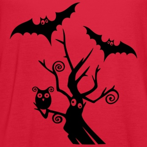 Halloween tree with bats and owl. - Women's Flowy Tank Top by Bella