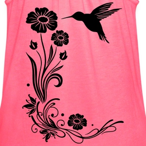Hummingbird, colibri with hibiscus - Women's Flowy Tank Top by Bella