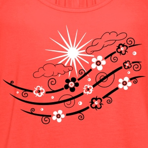 Sun with clouds, rainbow and flowers. - Women's Flowy Tank Top by Bella