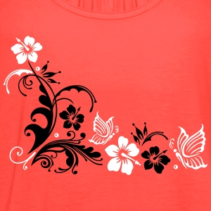 Hibiscus with butterflies - Women's Flowy Tank Top by Bella
