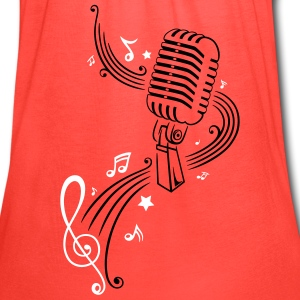 Retro microphone with music notes and clef. - Women's Flowy Tank Top by Bella