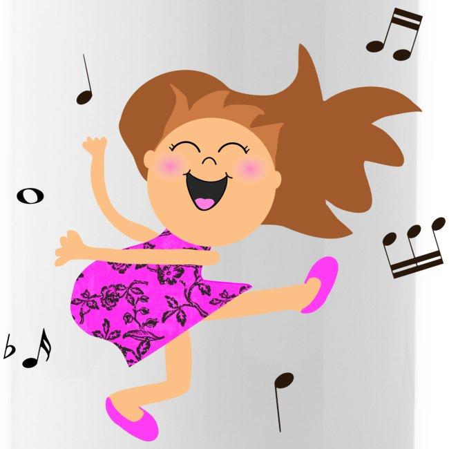 Inspirationz Store On Spreadshirt Com Cute Dancing Girl Cartoon In Hot Pink Dress Water Bottle
