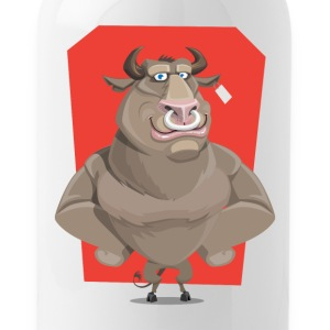 Angry Bull with Nose Piercing Vector Artwork - Water Bottle