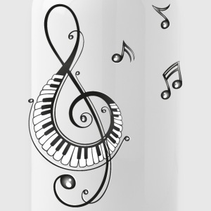Clef with piano and music notes, i love music. - Water Bottle