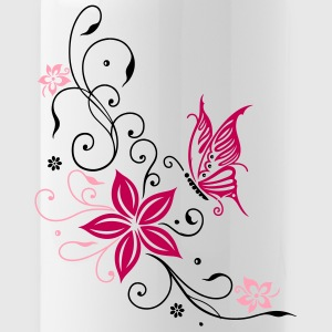 Flowers with filigree ornament and butterfly - Water Bottle