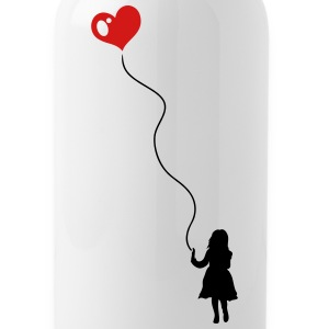 Child with heart balloon. - Water Bottle