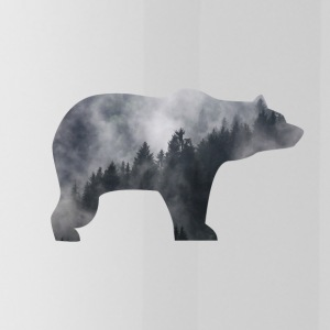 bear in smoky forest - Water Bottle