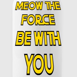 Meow The Force Be With You w/ Black Outline - Water Bottle